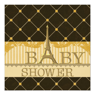 Chic Gold Eiffel Tower Baby Shower 5.25x5.25 Square Paper Invitation Card