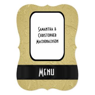 Chic gold elegant formal wedding menu card