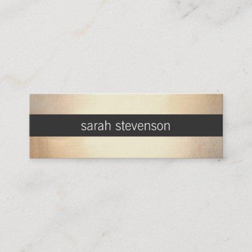 Chic Gold FAUX Foil Look Black Striped Modern Mini Business Card