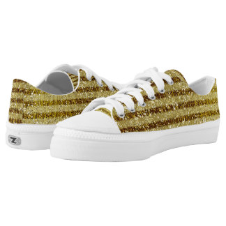 Chic Gold Faux Glittery Stripes Low-Top Sneakers
