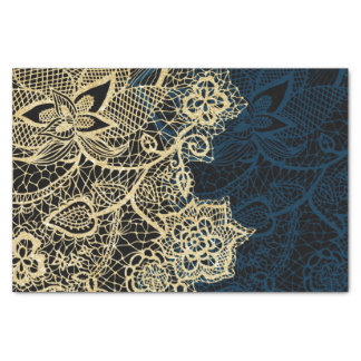 "Chic gold floral lace elegant navy blue pattern 10"" x 15"" tissue paper"