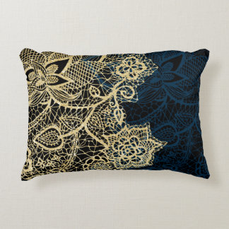 Chic gold floral lace elegant navy blue pattern decorative pillow