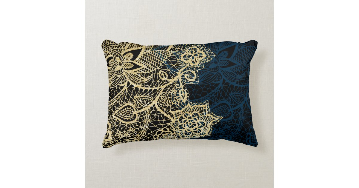 Chic Gold Floral Lace Elegant Navy Blue Pattern Decorative Pillow Classy Navy Blue And Gold Decorative Pillows