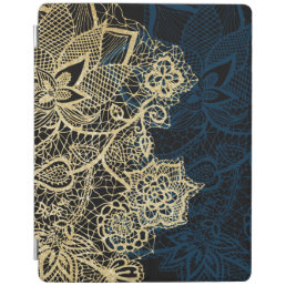 Chic gold floral lace elegant navy blue pattern iPad smart cover