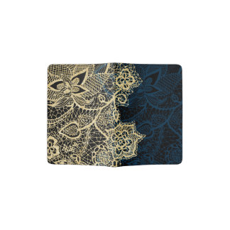 Chic gold floral lace elegant navy blue pattern passport holder