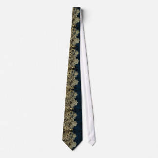 Chic gold floral lace elegant navy blue pattern tie
