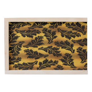 Chic Gold Foil Black Glitter Leaves Wooden Keepsake Box
