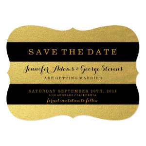 CHIC GOLD FOIL | BLACK STRIPES SAVE THE DATE 5X7 PAPER INVITATION CARD