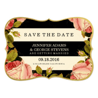 CHIC GOLD FOIL | BOTANICAL SAVE THE DATE 5X7 PAPER INVITATION CARD