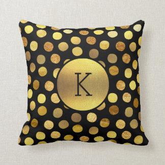 Chic Gold Foil Confetti Dots Black Monogram Pillow