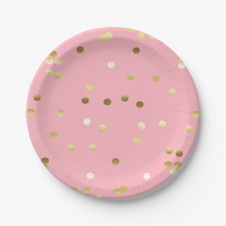 Chic Gold Foil Confetti Light Pink Paper Plate