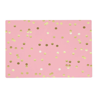 Chic Gold Foil Confetti Light Pink Placemat