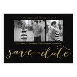 CHIC GOLD FOIL HANDWRITTEN | PHOTO SAVE THE DATE 5X7 PAPER INVITATION CARD
