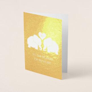 Chic Gold Foil Heart Elephants 10th Anniversary Foil Card