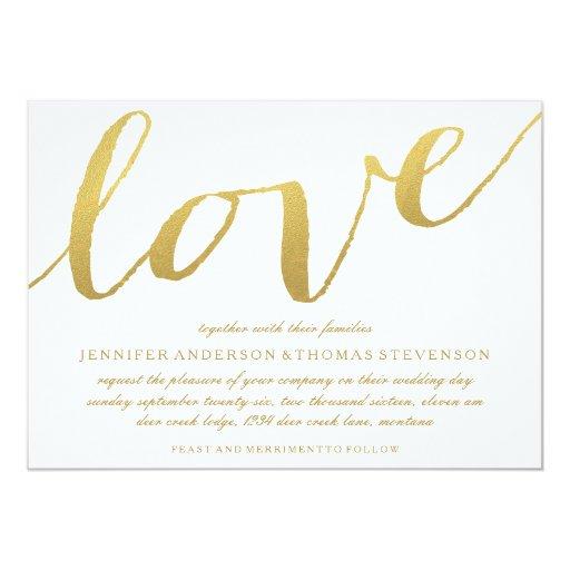 CHIC GOLD FOIL LOVE WEDDING INVITATION