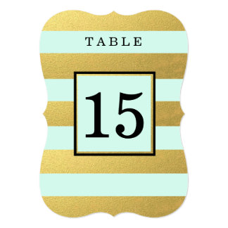 CHIC GOLD FOIL | MINT WEDDING TABLE NUMBER CARDS