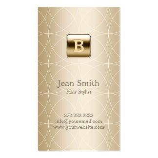 Chic Gold Foil Monogram Round Corner Hair Stylist Business Card Template
