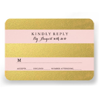 CHIC GOLD FOIL PINK RSVP CARDS CUSTOM ANNOUNCEMENTS