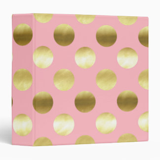 Chic Gold Foil Polka Dots Pink Binder