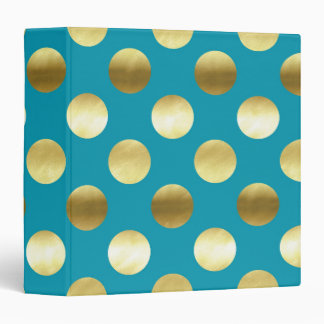 Chic Gold Foil Polka Dots Turquoise 3 Ring Binder