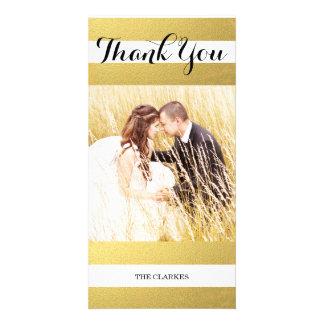 CHIC GOLD FOIL PRINT   WEDDING THANK YOU PHOTO PHOTO CARD