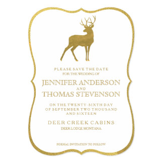CHIC GOLD FOIL | RUSTIC DEER SAVE THE DATE 5X7 PAPER INVITATION CARD