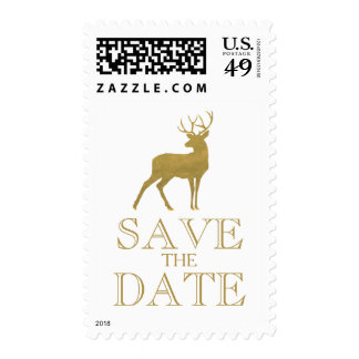 CHIC GOLD FOIL | RUSTIC SAVE THE DATE DEER POSTAGE