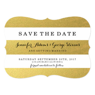 CHIC GOLD FOIL STRIPES SAVE THE DATE CARD