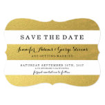 "CHIC GOLD FOIL STRIPES SAVE THE DATE 5"" X 7"" INVITATION CARD"