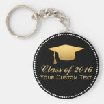 Chic Gold Foil Trendy Graduation Class of 2016 Basic Round Button Keychain
