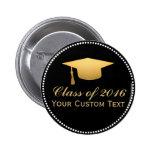 Chic Gold Foil Trendy Graduation Class of 2016 Button