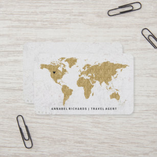 World map business cards zazzle chic gold foil world map travel agency or blogger business card gumiabroncs Choice Image