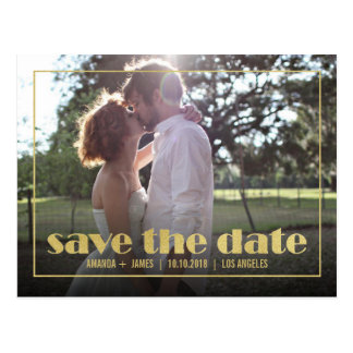 CHIC GOLD FRAME PHOTO SAVE THE DATE ANNOUNCEMENT POSTCARD