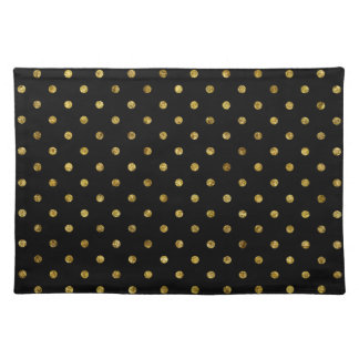 Chic Gold Glam and Black Dots Cloth Placemat