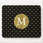 "Chic Gold Glam and Black Dots monogram Mouse Pad<br><div class=""desc"">Chic Gold Glam and Black Dots monogram</div>"