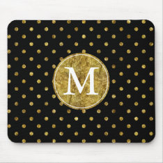 Chic Gold Glam And Black Dots Monogram Mouse Pad at Zazzle