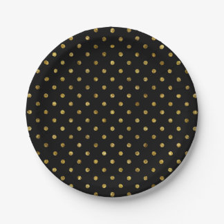 Chic Gold Glam and Black Polka Dots Paper Plate