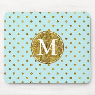 Chic Gold Glam and Blue Dots monogram Mouse Pad