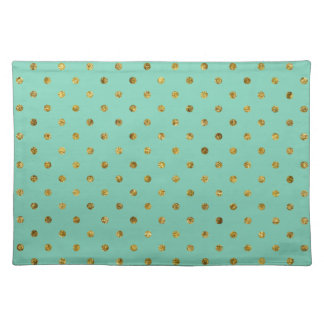 Chic Gold Glam and Mint Dots Cloth Place Mat