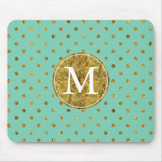 Chic Gold Glam and Mint Dots monogram Mouse Pad