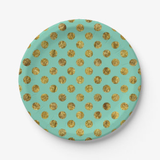 Chic Gold Glam and Mint Dots 7 Inch Paper Plate