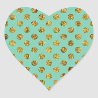Chic Gold Glam and Mint Dots Heart Sticker