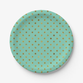 Chic Gold Glam and Mint Polka Dots 7 Inch Paper Plate
