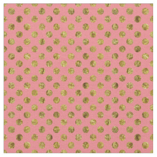Chic Gold Glam And Pink Dots Fabric