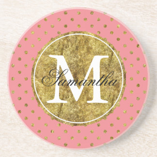 Chic Gold Glam and Pink Dots Monogram Drink Coaster