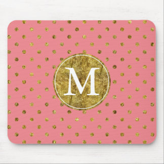 Chic Gold Glam and Pink Dots monogram Mouse Pad