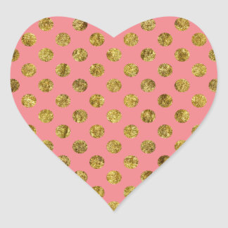 Chic Gold Glam and Pink Dots Heart Sticker