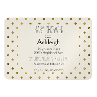 Chic Gold Glam and White Polka Dots baby shower Card