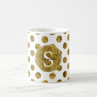 Chic Gold Glam Dots Monogram Coffee Mug