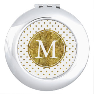 Chic Gold Glam Dots monogram Compact Mirror